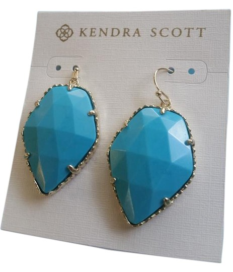 Preload https://img-static.tradesy.com/item/18553774/kendra-scott-turquoise-and-gold-corley-drop-earrings-0-2-540-540.jpg