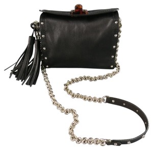 Lanvin Silver Studded Chain Tassels Cross Body Bag