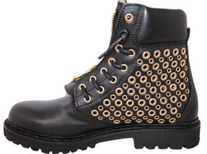 Balmain Leather Perforated Ankle black Boots