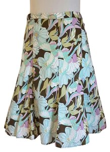 A. Byer Print Skirt Aqua, Brown Multi Color Floral