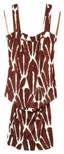 Diane von Furstenberg 100% Silk Tunic Mini Dress Zebra Animal Wild Animal Long Dvf Designer Nwt Now Mini Mini Dress Dvf Parladimoda Top brown and white print