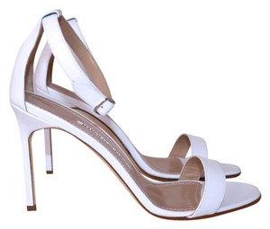 Manolo Blahnik Leather Open Toe Stiletto Pump white Sandals