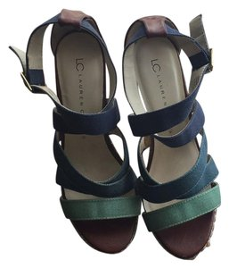 LC Lauren Conrad Blue Wedges
