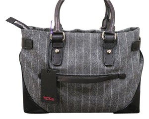 Tumi Tote in Grey pintstripe with black leather trim