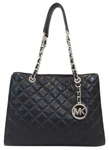 Michael Kors Quilted Chains Leather Tote in Black