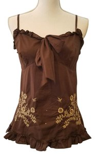 Rampage Summer Embroidered Top Brown