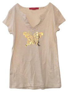 Zena Jeans T Shirt ivory with gold butterfly