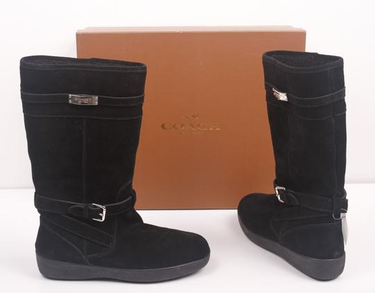 Coach Faux Shearling Lined Winter Snow Suede Leather Warm Black Boots Image 1