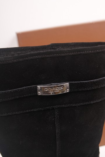 Coach Faux Shearling Lined Winter Snow Suede Leather Warm Black Boots