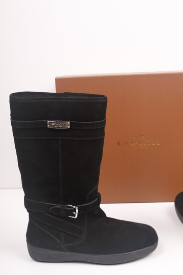 Coach Faux Shearling Lined Winter Snow Suede Leather Warm Black Boots Image 3