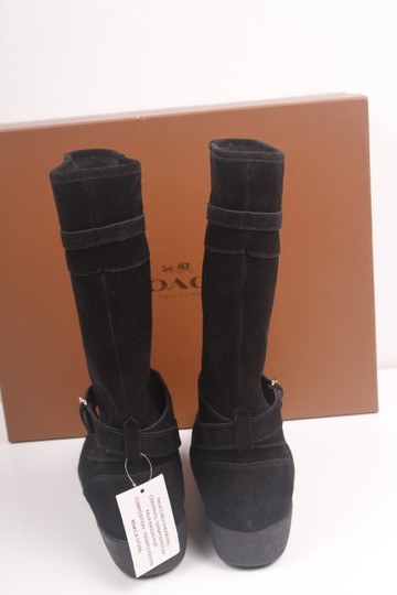 Coach Faux Shearling Lined Winter Snow Suede Leather Warm Black Boots Image 4
