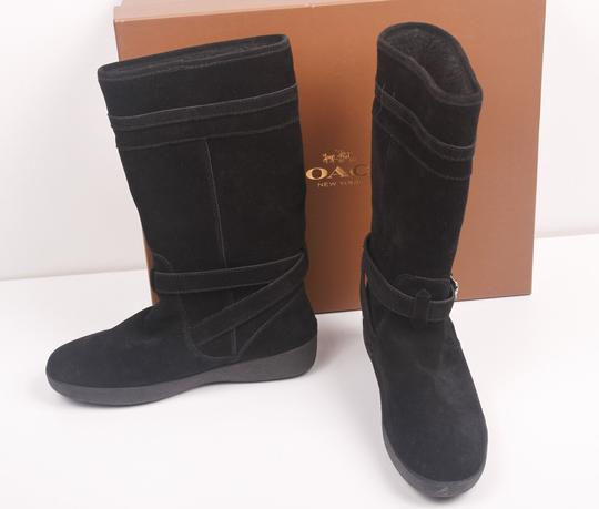 Coach Faux Shearling Lined Winter Snow Suede Leather Warm Black Boots Image 7