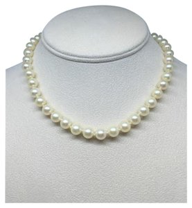 Modern Vintage White Cultured PEARL Necklace 18 Inches 14k Gold 9-10mm Wedding/Bridal