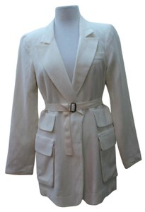 Nanette Lepore Textured Fabric Large Pockets Ivory Blazer