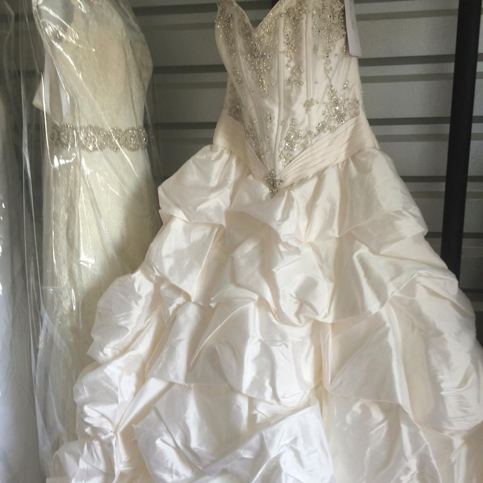 Mori lee ivory taffeta formal wedding dress size 12 l for Mori lee taffeta wedding dress