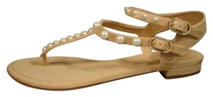 Chanel Pearl Size Varies New Beige Sandals