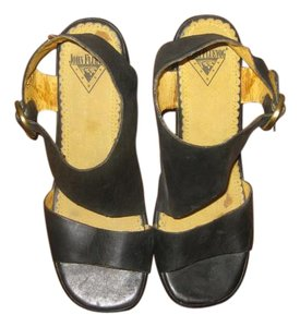 John Fluevog Leather Lining Leather Footbed Wedge black Sandals