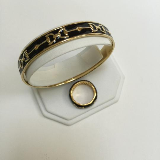 Other Black Enamel and Gold Plated Brass Bracelet and Ring Set