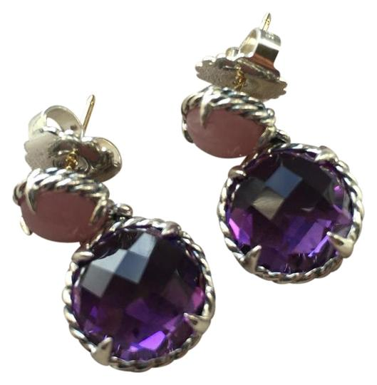 David Yurman David Yurman Sterling Chatelaine Amethyst Guava Quartz Earrings