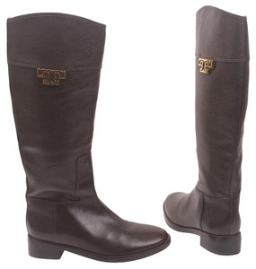 Tory Burch Riding Knee High Low Heel Equestrian Leather Brown Boots