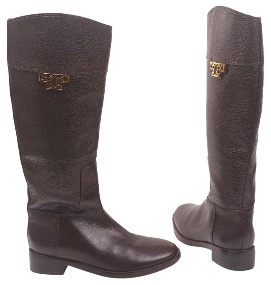 77f7b4f28b47 Tory Burch Riding Knee High Low Heel Equestrian Leather Brown Boots Image 0  ...