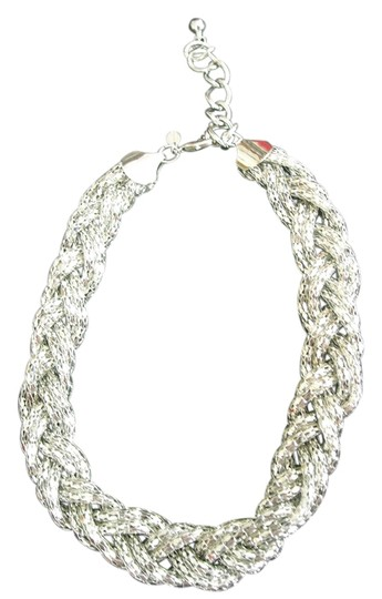 "Express SILVER NECKLACE 18-21"" BRAIDED FILIGREE DESIGN, 1' WIDE, LIKE NEW"