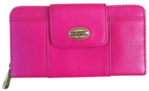 Fossil Wallet Leather Pink Hot Pink Clutch