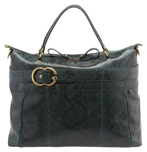 Gucci Gg Snakeskin Larg Travel Tote in Green