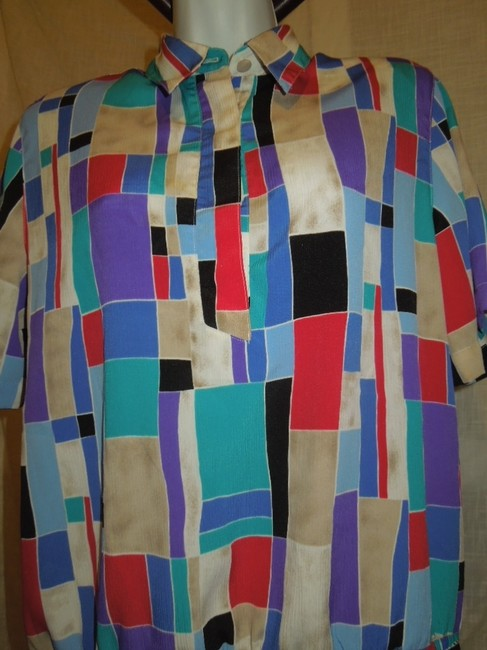 Alfred Dunner Block Color Short Sleeve Button Medium Small Size 8 Size 10 Free Ship Paypal Top multi color