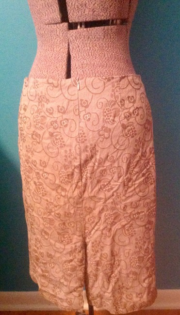 Barneys New York Floral Cotton Zipper Lined Kick Slit Skirt