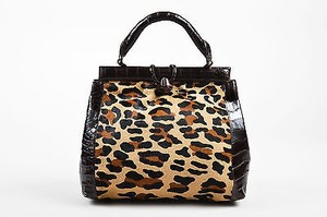 Nancy Gonzalez Leopard Calf Hair Caiman Crocodile Leather Tote in Brown