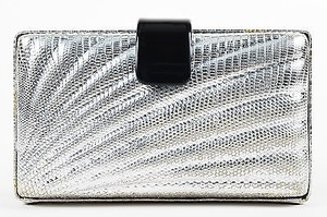 Emilio Pucci Embossed Leather Black Plastic Strap Turn Lock Silver Clutch