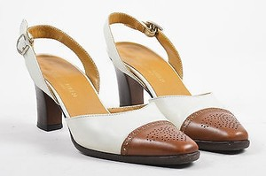 Ralph Lauren Vintage Brown Leather Cream Pumps