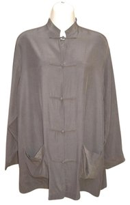 J. Peterman Silk Asian Oversized Brown Jacket