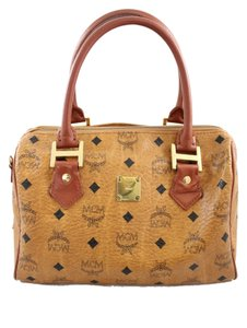 MCM Leather Gold Penny Lane Satchel in Brown