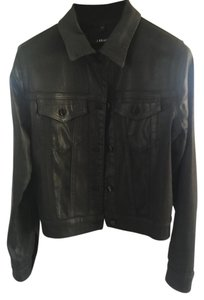 J Brand Jean Laquered Leather Look Black Coated Womens Jean Jacket