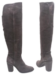 Dolce Vita Otk Over The Knee Thigh High Chunky Heel Charcoal Gray Boots