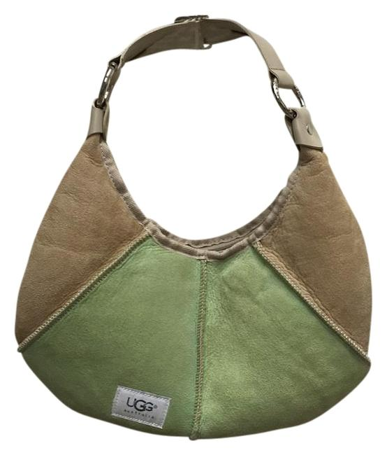Item - 2574 Green and Beige Leather & Suede Baguette