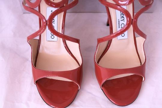 Jimmy Choo Patent Patent Leather Strappy Open Toe Ankle Strap Agate Sandals