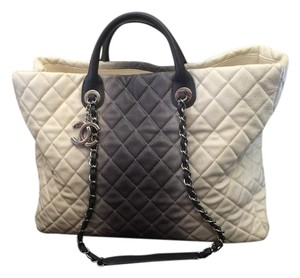 Chanel Leather Tote in Ivory and Charcoal Gray