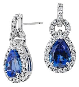 Avi and Co 5.98 cttw Pear Shape Sapphire & Round Diamond Drop Earrings
