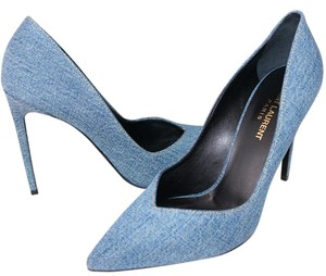 Saint Laurent Denim Classic Pointed Toe Blue Pumps