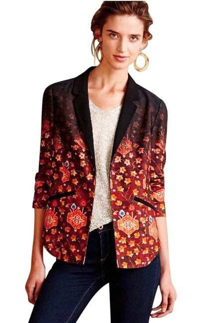 Anthropologie Vibrant Colors Super Well Tailored Menwear Inspirted Two Welt Pockets Open Front Top Multi-color
