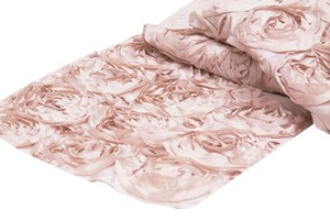 """Blush Rose Gold 12""""X108"""" Rosette Table Runner Event Party Decor Tablecloth"""