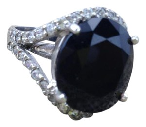 Sterling Silver 925 Black Onyx Diamond Ring