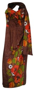 Brown/orange Maxi Dress by The Hawaiian Shop Chicago Vintage Floral Sarong