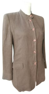 Giorgio Armani Striped Single Breasted Jacket Brown Blazer