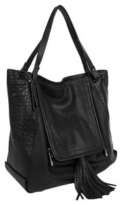 Kooba Leather Silver Hardware Festival Tassels Eclectic Tote in Black