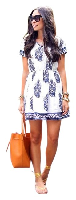 Item - Blue and White Summer Mini Short Casual Dress Size 6 (S)