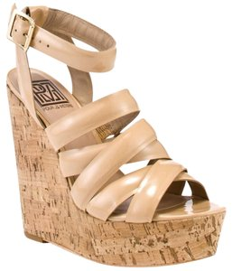 Pour La Victoire Patent Leather Cork Strappy Sandal Nude Wedges